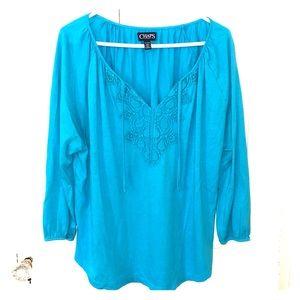 Blue 3/4 sleeves shirt/blouse